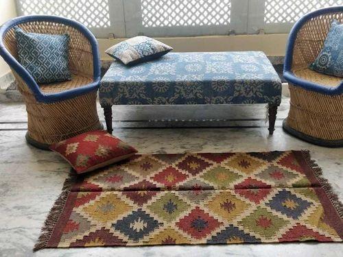 Kilim Jute Wool Rug In Vibrant Colors With Fringes Best Rugs Jaipur