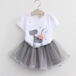 White & Grey Net And Cotton Kids Skirt Top, Age: 1-5yr