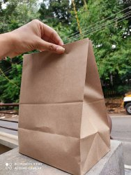 Brown Square Bottom Paper Bags, For Grocery, Capacity: 1kg