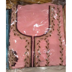 Party Wear Ladies Unstitched Pink Embroidery Suit
