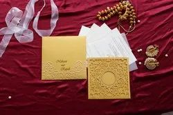 Paper Pull-Out Insert Floral Pattern Laser Cut Invitation Card, Size: 17.1cm X 17.1cm