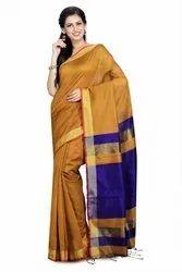 Self Plain Golden Border Festive Wear Cotton Silk Handloom Saree, 6.5 M