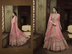 Pink Eid Wear Heavy Embroidered Worked Net Fabric Floor Length Salwar Suit