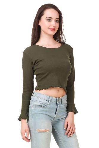 84f6db3d8e17c0 Small and X-Large Fairiano Casual Full Sleeve Solid Women    s Green Top