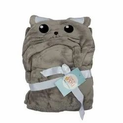 Baby Blanket With Hood Grey Cat