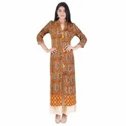 Lavanya Rayon Designer Printed Solid Coloured Kurti
