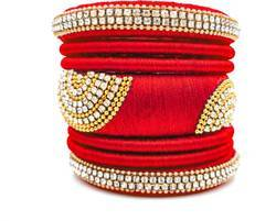 Red And Golden Silk Thread Bangles Set
