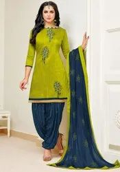Olive Green Slub Cotton Patiala Kameez