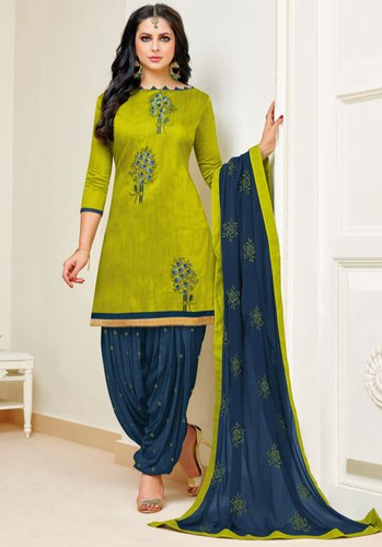 1ea8f14e51 Chiffon Stitched Olive Green Slub Cotton Patiala Kameez, Rs 1271 ...