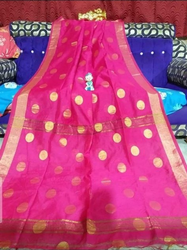 Ladies Pink Formal Cotton Silk Saree, 6.3 m
