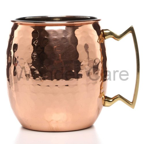 100% Copper Premium Moscow Mule Cup, Solid Copper Classic Point Handle Cup