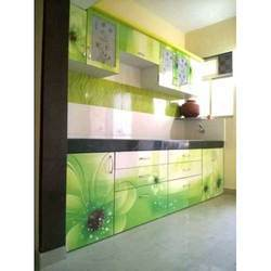 Multicolor Wooden Printed Modular Kitchen Cabinets