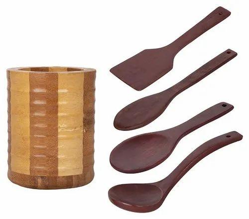 Bestnonstick Wooden Spoons For Cooking Premium Hard Wood Cooking Utensils Set Of 5