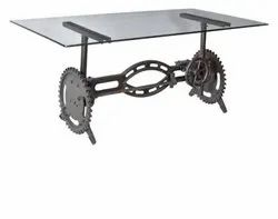 DIF-1422 Cast Iron Glass Top Industrial Table