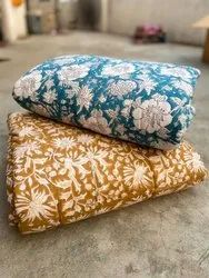 Indian Hand Block Print Cotton Quilt  Bedspread Throw