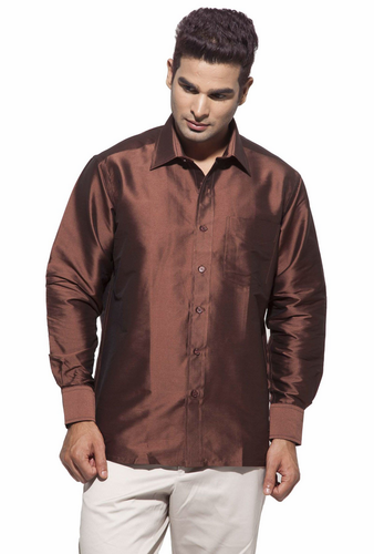 e169b3c365b83 Art silk Shirts - Dennis Morton Men s Brown Party Half Sleeve Art Silk Shirt  Manufacturer from Kannur