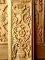 Teak Wood Engraved, Modern Art Carved Door Panel