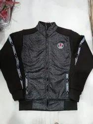 Full Sleeve Casual Wear Men's Gray Black Jacket, Size: Large