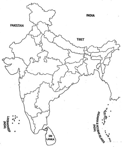 Outline Map Of India multilingual Paper Outline Map of India, Size: Variable, | ID