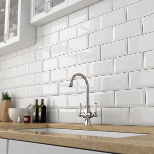 Ceramic White Glossy Kitchen Wall Tiles Size 4 X 8 Inch Thickness 6 Mm Rs 28 Piece Id 22069850088