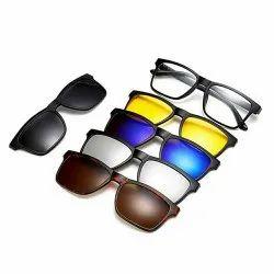 黑色矩形5合1磁性太阳镜,尺寸:免费