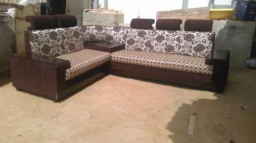 Brown Wooden Corner Sofa Set Polish Handle Branded Color Rs 24000