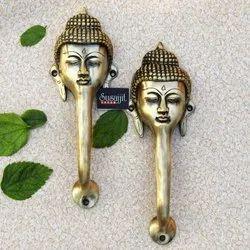 Susajjit Door Handle Set Made Of Brass Buddha Face Design Decorative Door Hardware