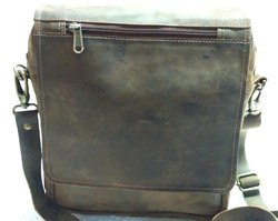 Flap Closure Crunch Leather Vertical Satchel Bag