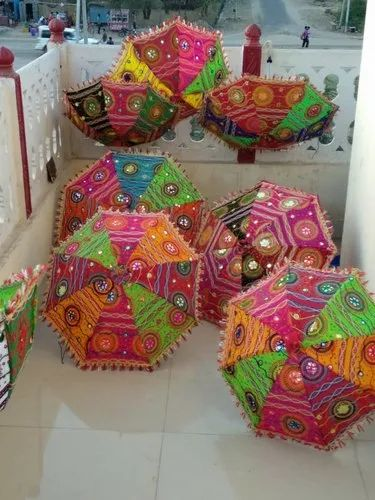 Traditional Jaipuri Beautiful Embroidery Multi Color Umbrella