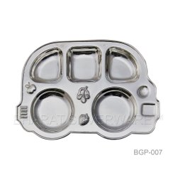 Pure Silver Baby Car Shape Partition Plate