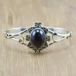 Unisex 925 Sterling Silver And Brass Handmade Jewelry Garnet Gemstone Bangle, Size: Free