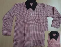 Polyester UP Government School Uniform Red Check Shirt