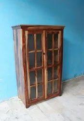 Walnut Wooden Sheesham Wood Display Double Door Almirah For Hotel, Size: W36xd16xh60 Inch