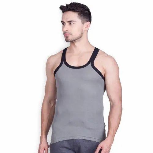 8623d084707 Gray Cotton Linen Lux Men Gym Vests