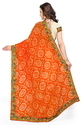 Orange Bandhani And Beige Half And Half Saree
