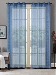 52 X 90 Inch Brick Lace Placid Blue Sheer Curtain