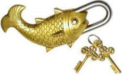 Handmade Old Vintage Style Antique Big Fish Shape Brass Security Lock with 2 Keys