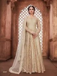 Latest Stylish New Fashion Net Gown With Net Dupatta By Parvati Fabric