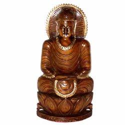Wooden Black Finishing Kamal Buddha Statue