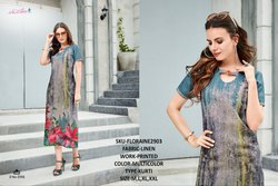 Rachna Linen Digital Printed Work FLoraine Catalog Kurti For Women 3