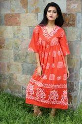 Ankle Length Printed Batik Kurta