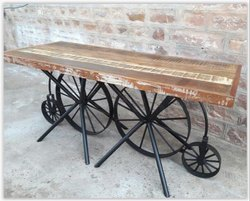 Industrial Rustic Metal Cycle Wheel Dining Table, Size: W72xd30xh30 inch