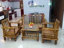 Brown Rectangular KF-WSS-6 Wooden Sofa Set