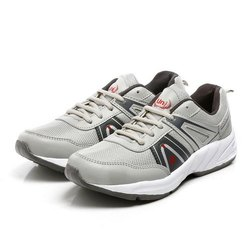 Mens Light Grey Silver Synthetic Walking Shoes