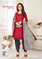 Women Party Wear Cotton Suit Dress Material, Size: Medium