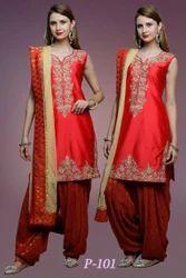 Red Designer Patiala Suits