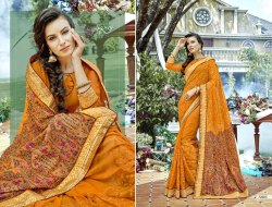Yellow Party Stylish Georgette Saree