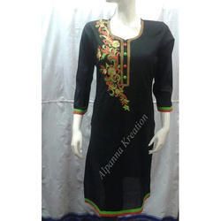 Cambric Cotton Handwork Black Kurtis