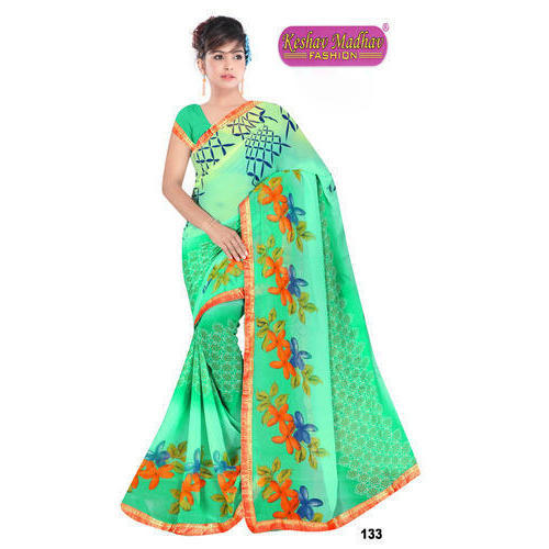 Ladies Flower Print Green Saree