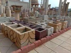 Teak & Red Sandstone Planters